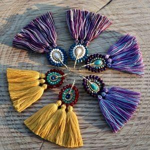 Jewelry - Handmade Glass Beaded Chandelier Tassel Earrings